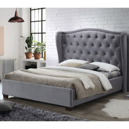 An Image of Lauren Fabric Double Bed In Grey