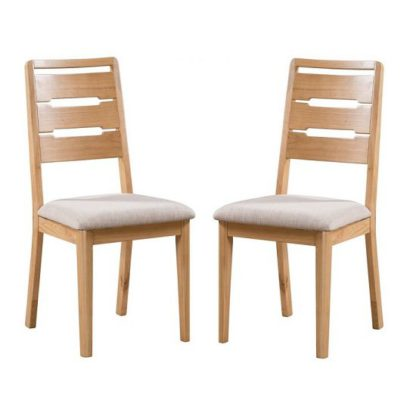 An Image of Holborn Wooden Dining Chair In Oak Finish In A Pair