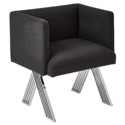 An Image of Markeb Black Fabric Dining Chair With Silver Metal Legs
