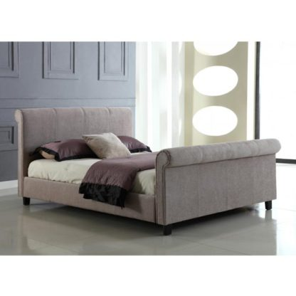 An Image of Jalisa Chenille Fabric Double Bed In Mink