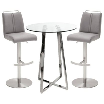 An Image of Poseur Glass Round Bar Table With 2 Giulia Ice Grey Bar Stools
