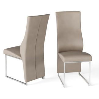 An Image of Remo Taupe Faux Leather Dining Chairs In Pair