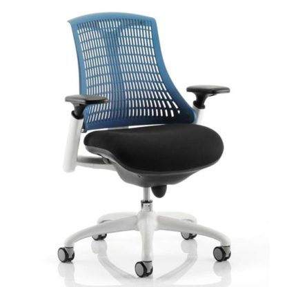 An Image of Flex Task Office Chair In White Frame With Blue Back