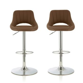 An Image of Shello Bar Stool In Cappuccino Faux Leather In A Pair