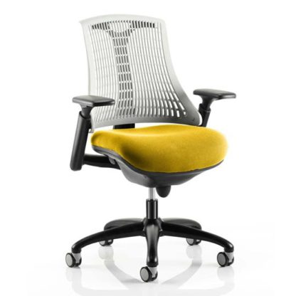 An Image of Flex Task White Back Office Chair With Senna Yellow Seat