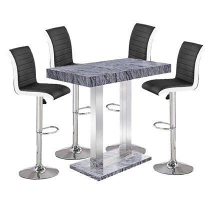 An Image of Melange Gloss Marble Effect Bar Table 4 Ritz Black White Stools