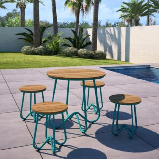 An Image of Novogratz Bobbi Bistro Set In Turquoise With 4 Stools