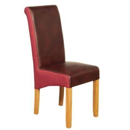 An Image of Charlene Leather Dining Chair In Burgundy And Plum