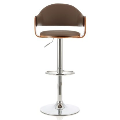 An Image of Emden Bar Stool In Walnut And Beige PU With Chrome Base