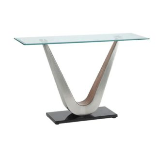 An Image of Cobra Console Table In Clear Glass Top With V Shape Walnut Base