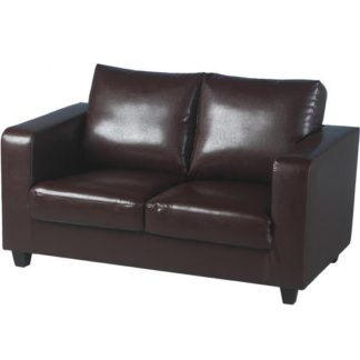 An Image of Tempo 2 Seater Sofa In A Box Made of Brown Faux Leather