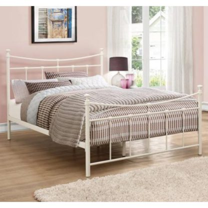 An Image of Emily Steel Small Double Bed In Cream