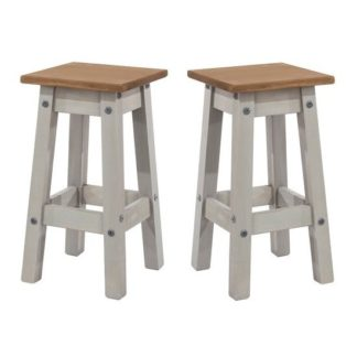 An Image of Corina Wooden Kitchen Stools In Grey Washed Wax In A Pair