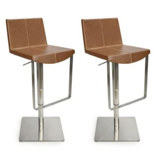 An Image of Skypod Urban Tan Bar Stool In Pair With Brushed Steel Base