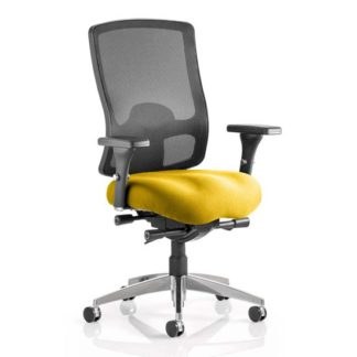 An Image of Regent Office Chair With Senna Yellow Seat And Arms
