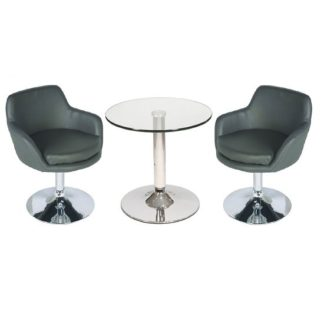 An Image of Belize Glass Bistro Table In Clear And 2 Grey Bucketeer Chairs