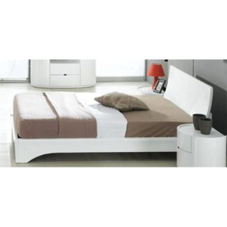 An Image of Laura White Gloss Double Bed With Ventilated Board
