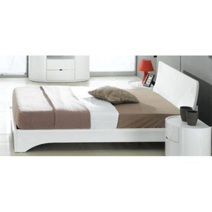 An Image of Laura King Size Bed In White High Gloss