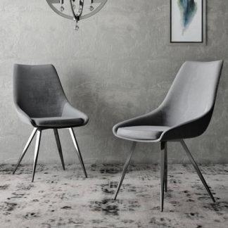 An Image of Lanna Dark Grey Velvet Fabric Dining Chairs In Pair