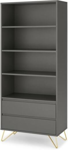 An Image of Elona Bookcase, Charcoal and Brass