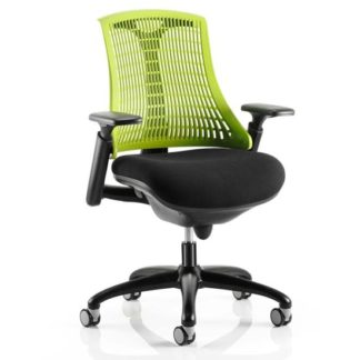 An Image of Flex Task Office Chair In Black Frame With Green Back