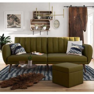An Image of Brittany Linen Sofa Bed In Green With Wooden Legs