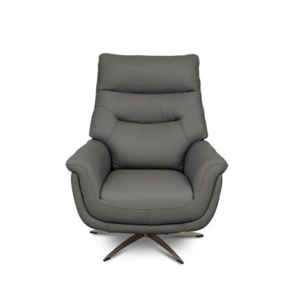 An Image of Linea Faux Leahter Swivel Armchair In Grey