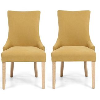 An Image of Lavinia Accent Chair In Jonquil Yellow In A Pair
