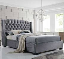 An Image of Epsilon Double Bed In Dark Grey Velvet Fabric With Black Legs
