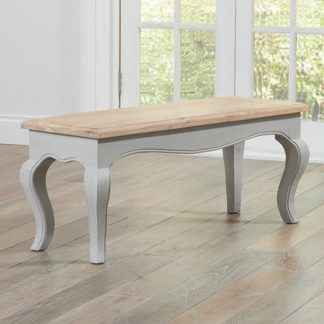 An Image of Marco Wooden Dining Bench In In Acacia And Grey