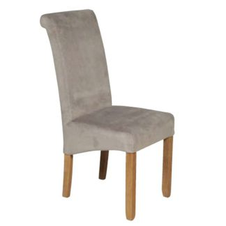 An Image of Sika Velvet Dining Chair In Grey