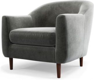 An Image of Custom MADE Tubby Armchair, Steel Grey Velvet with Dark Wood Legs