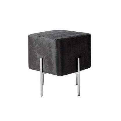 An Image of Ryman Stool In Black Velvet And Polished Stainless Steel