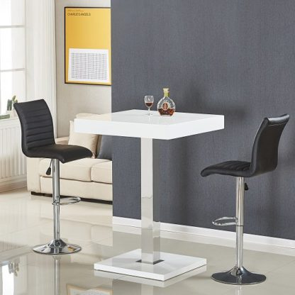 An Image of Topaz Bar Table In White High Gloss With 2 Ripple Black Stools