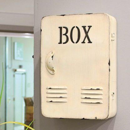 An Image of Hazel Metal Key Box In Antique White With Door