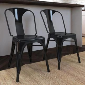 An Image of Finn Black Metal Dining Chairs In Pair