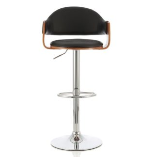 An Image of Emden Bar Stool In Walnut And Black PU With Chrome Base