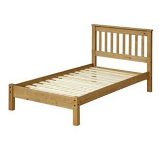 An Image of Corina Single Slatted Lowend Bed In Antique Wax Finish
