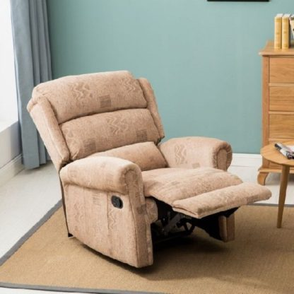 An Image of Manningham Modern Recliner Chair In Wheat Fabric