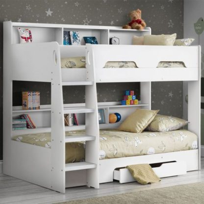 An Image of Orion Wooden Bunk Bed In Pure White