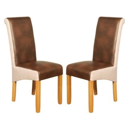 An Image of Charlene Tan And Beige Leather Dining Chair In Pair