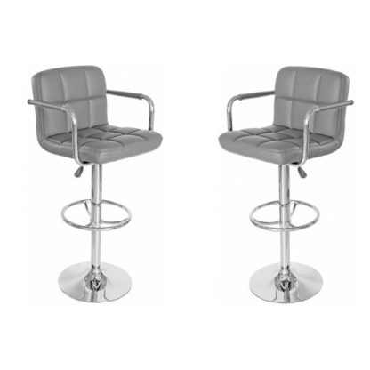 An Image of Coco Grey Leather Bar Stool In Pair