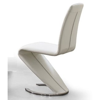 An Image of Swing I Metal Swinging White Faux Leather Dining Chair