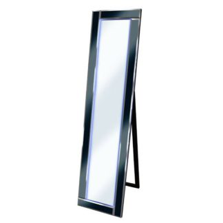 An Image of Bevelled Black Cheval Freestanding Mirror With Blue LED Light