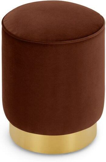 An Image of Hetherington Small Brass Base Pouffe, Warm Caramel Velvet