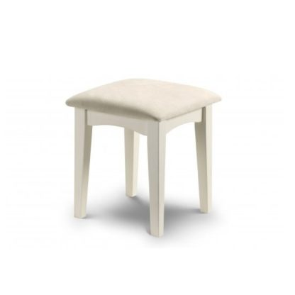 An Image of La Monte Stool In Silky Smooth Stone White With Padded Seat