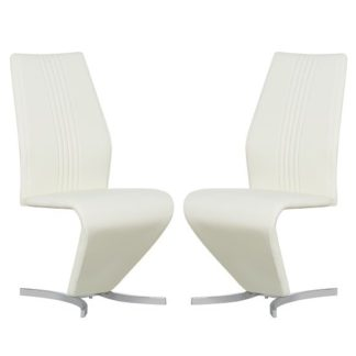 An Image of Gia Modern Dining Chairs In Cream Faux Leather In A Pair