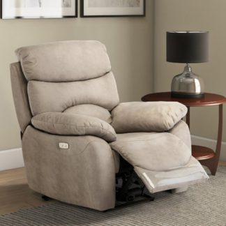 An Image of Layla Fabric Electric Recliner Armchair In Natural