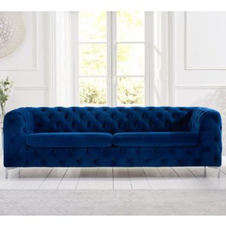 An Image of Berenices Plush Fabric 3 Seater Sofa In Blue