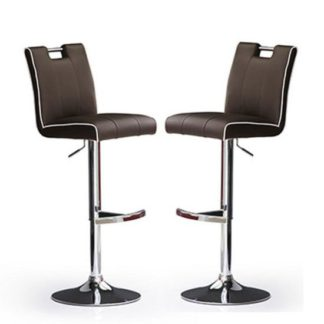 An Image of Casta Bar Stools In Brown Faux Leather in A Pair
